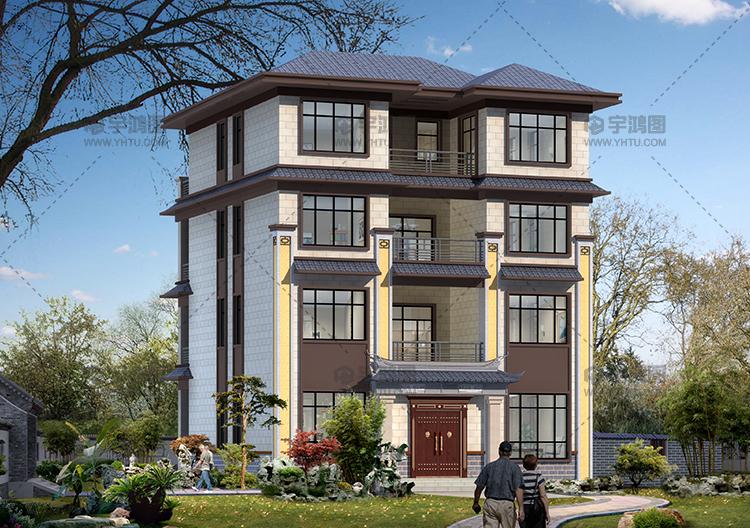 带电梯四层中式农村别墅房屋设计图,农村豪宅首选