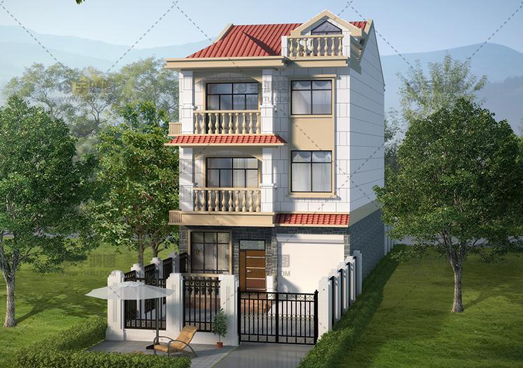 带庭院漂亮三层欧式农村小别墅设计图纸及效果图片
