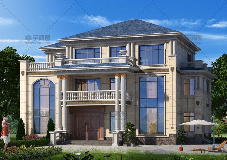 200平带旋转楼梯大气欧式别墅设计图纸及效果图片