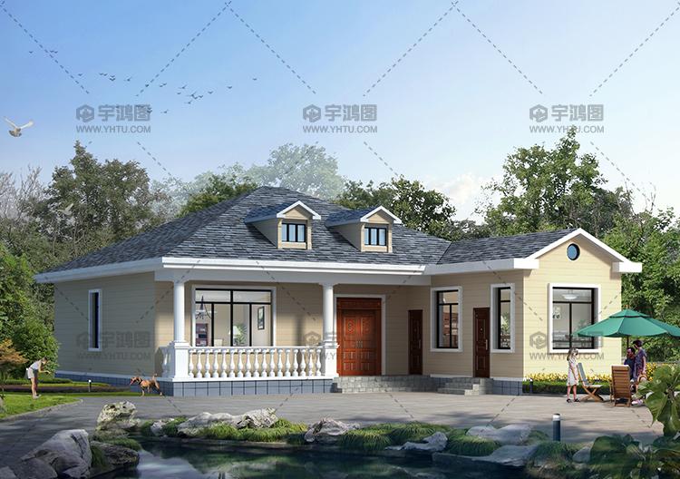176平米美式一层农村别墅设计图纸及外观效果图