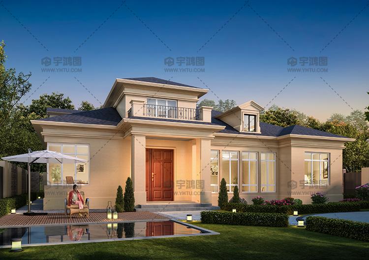 235平美式田园风格一层房屋别墅设计图,屋顶很漂亮