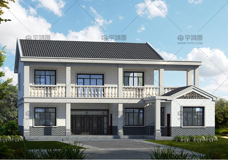 带柴火房二层中式农村房屋设计图,设有堂屋和神龛