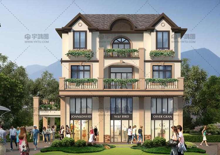 135平带商铺的三层美式别墅设计图纸,精致美观