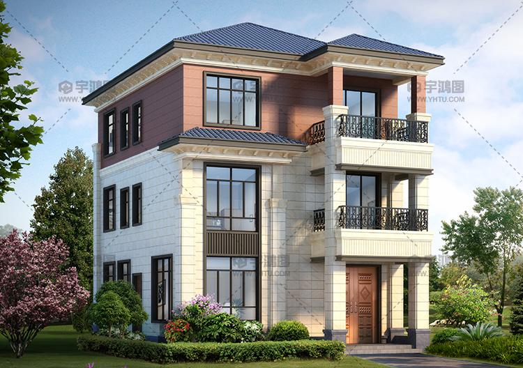 漂亮的三层带小阳台别墅设计图纸及效果图