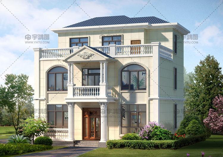 120平米欧式三层别墅建筑设计图纸