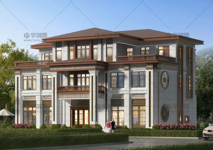 高端中式风格三层别墅设计图纸