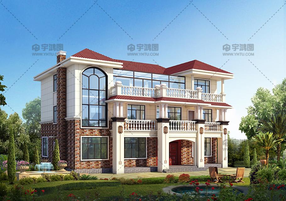 框架结构三层带露台别墅设计图纸