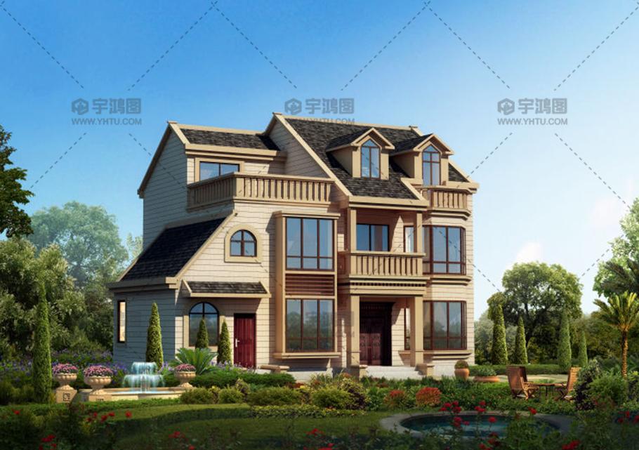 农村三层欧式带阁楼别墅设计图纸