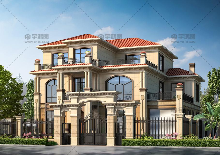 三层带车库欧式别墅设计效果图