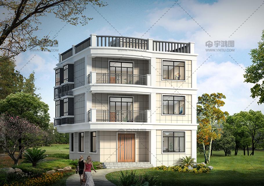 100平米现代风格三层别墅图纸