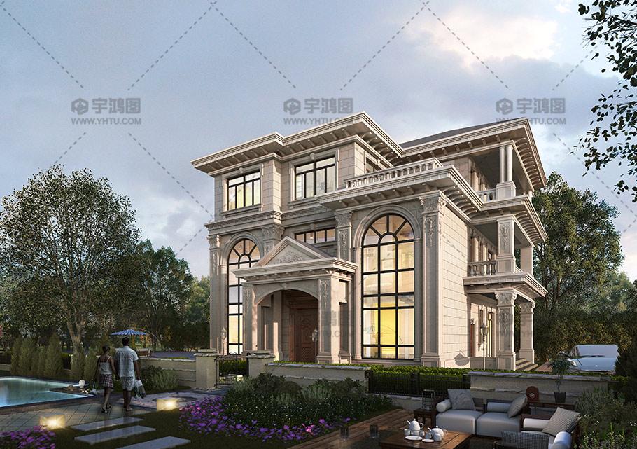 30万三层欧式复式客厅别墅图纸