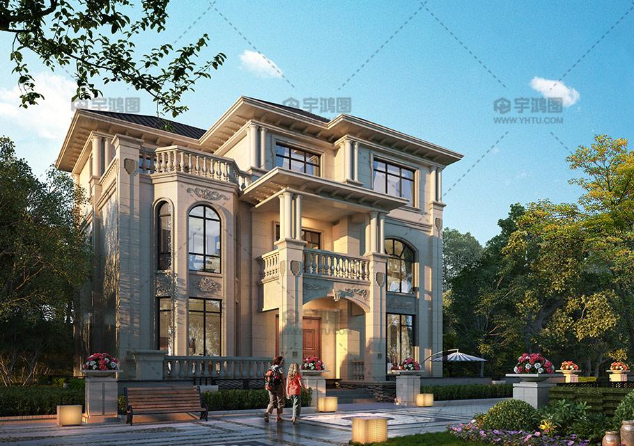 143平农村三层带神龛小别墅设计图纸