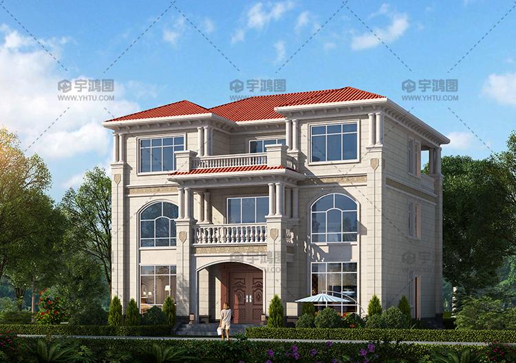 14x13米三层带露台别墅设计图