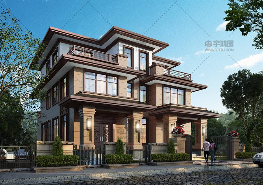 190平三层双拼新中式别墅图纸