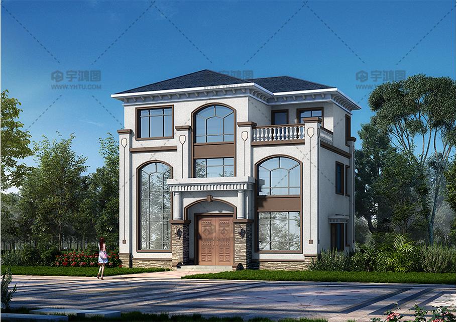 12x10米三层复式客厅别墅设计图