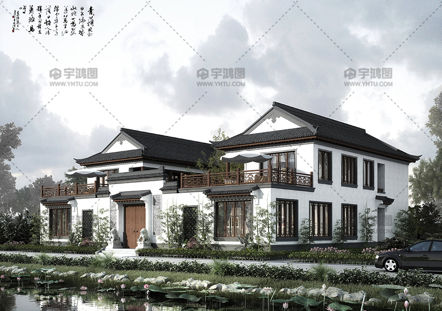 400平二层中式四合院别墅设计图纸