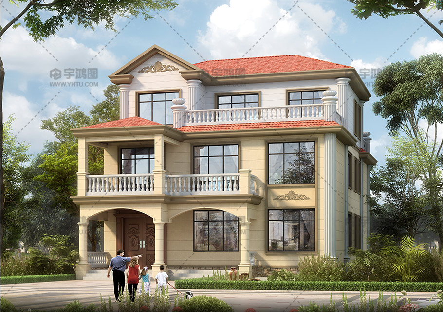 简单三层欧式带大露台别墅设计图纸