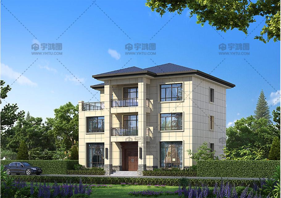 新农村三层带露台欧式农村别墅设计