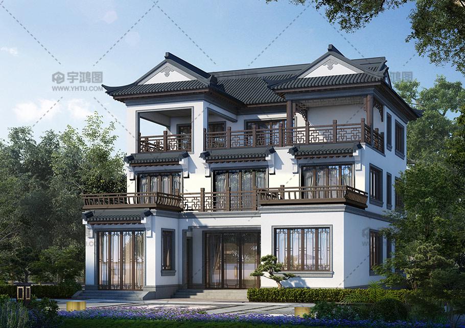 30万三层中式农村别墅设计图