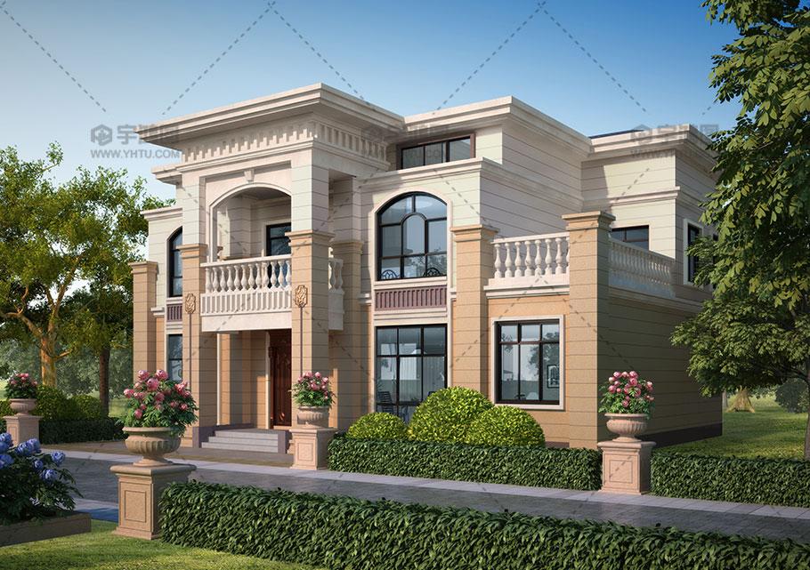 带堂屋二层框架结构农村别墅图纸