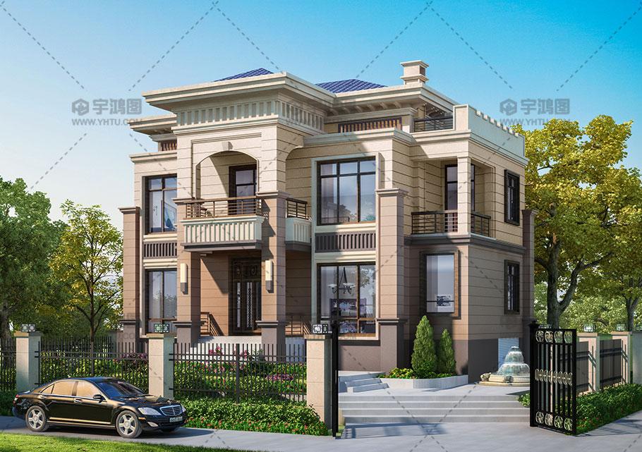 带地下室和阁楼两层欧式别墅设计图