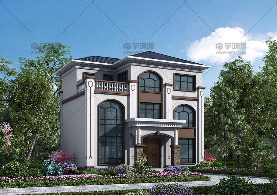 110平框架结构带复式客厅别墅设计效果图