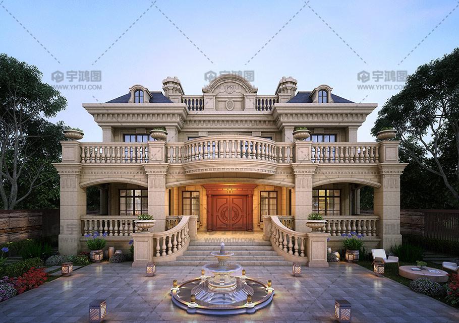 15x17米两层豪华法式别墅设计图纸