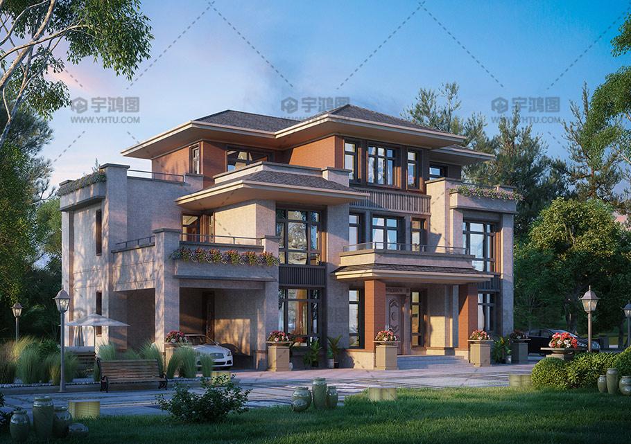 190平三层新亚洲风格别墅图纸