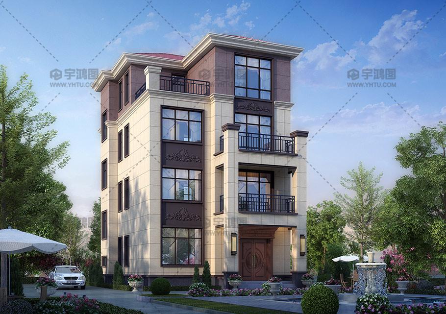 占地90四层框架结构别墅图纸