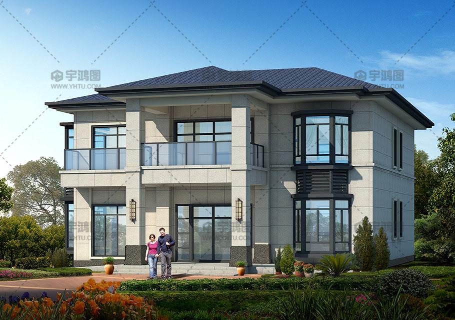 清新亮丽农村复式二层别墅设计图纸及效果图