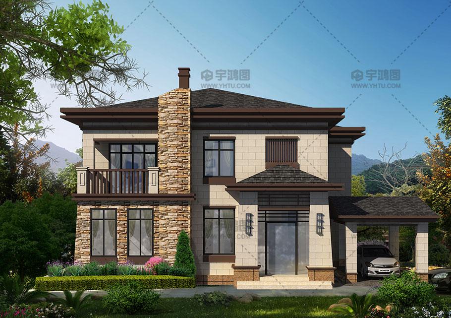美式两层带玄关车库农村自建房设计图纸