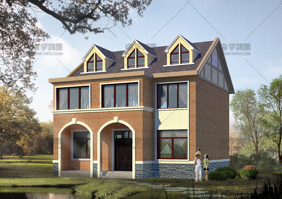 带阁楼110平米农村20万二层小楼房设计图