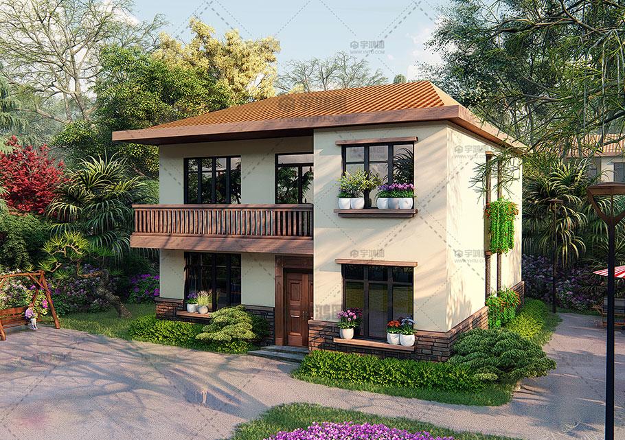 11x13米现代风格农村二层带堂屋小别墅设计图