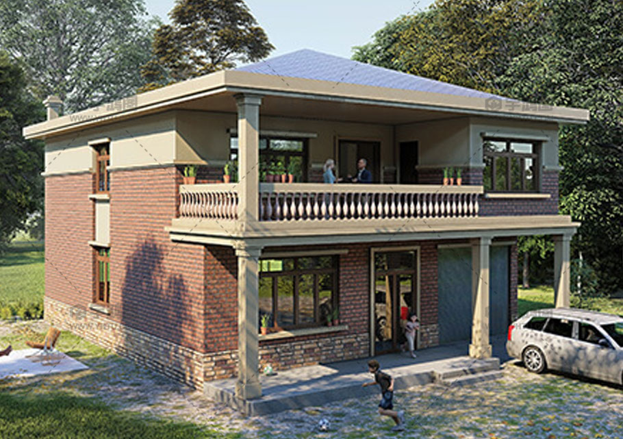 145平二层欧式带车库农村自建楼房设计图