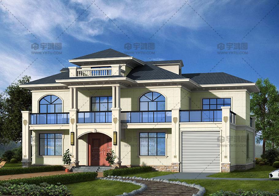 265平新颖别致带阁楼新农村房屋设计图纸