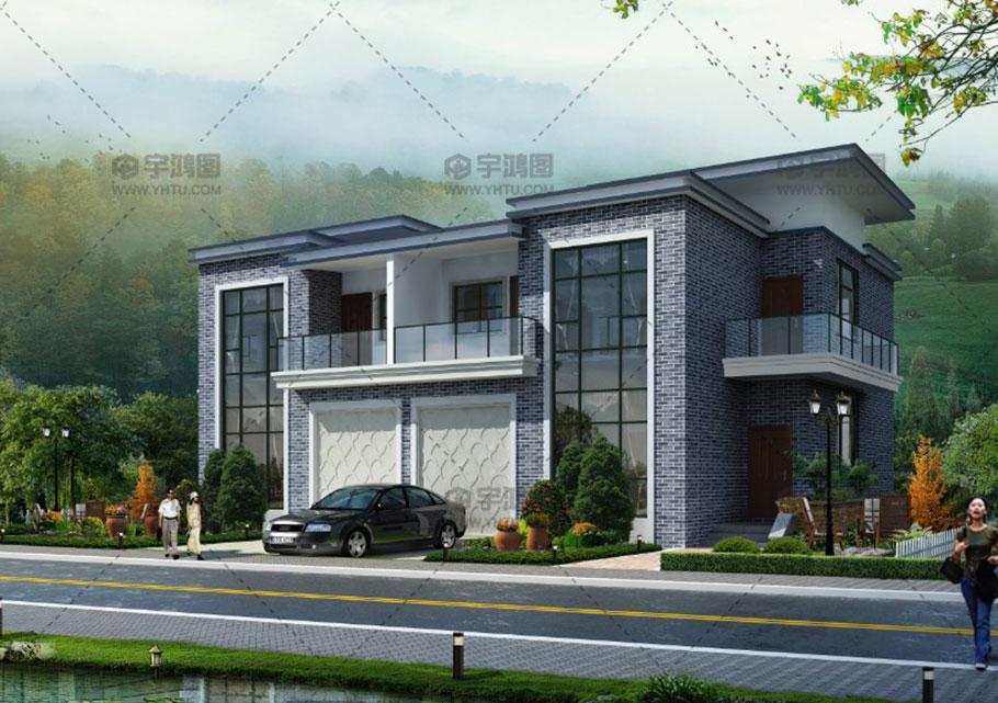 30万新中式双拼农村小别墅设计图