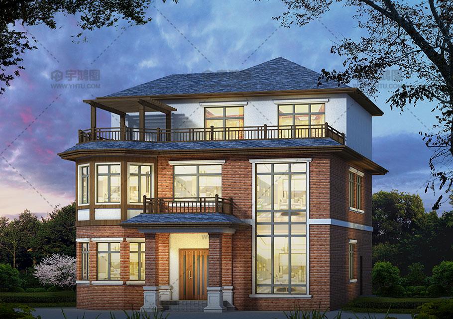 170平英式带露台农村小别墅设计图及效果图