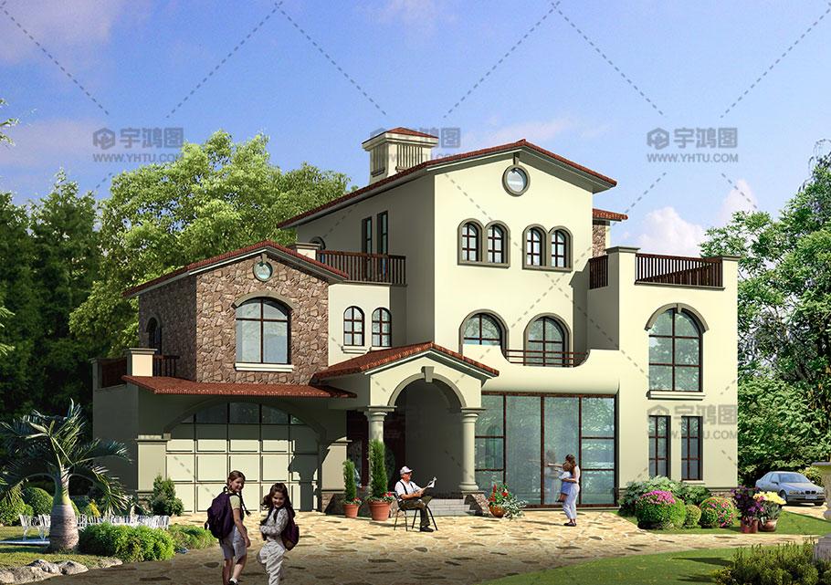 240平西班牙风复式农村别墅设计图纸