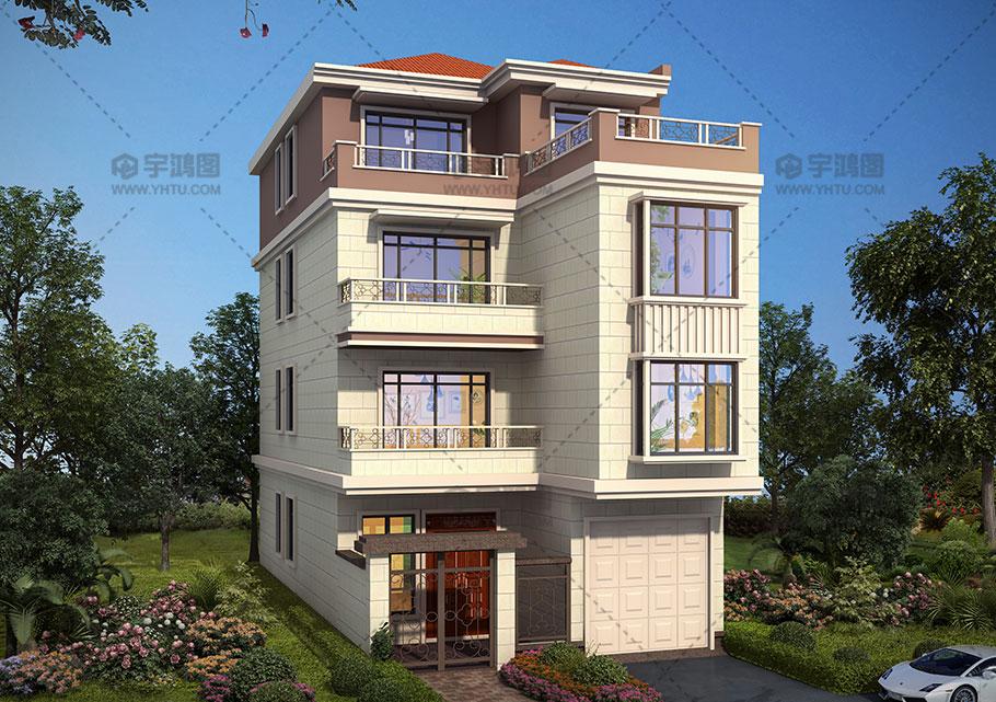 120平米四层带庭院农村别墅设计图