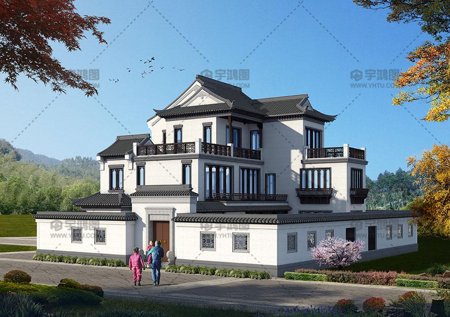 142平三层中式带庭院别墅设计图