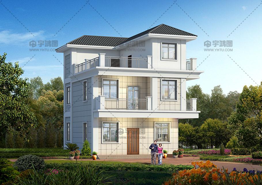 漂亮现代风格二层半农村小别墅设计图纸