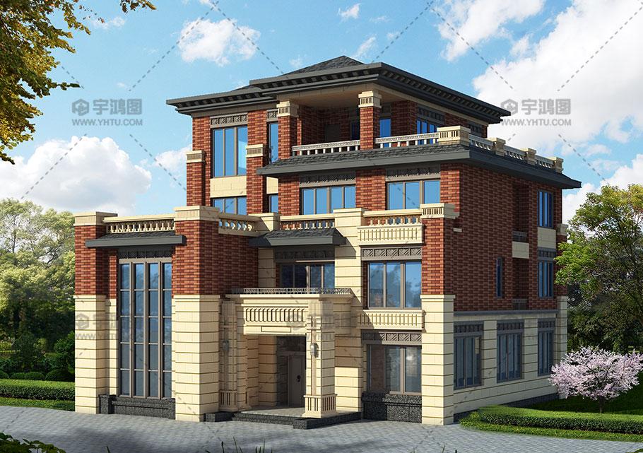 233平新中式四层农村别墅设计图纸