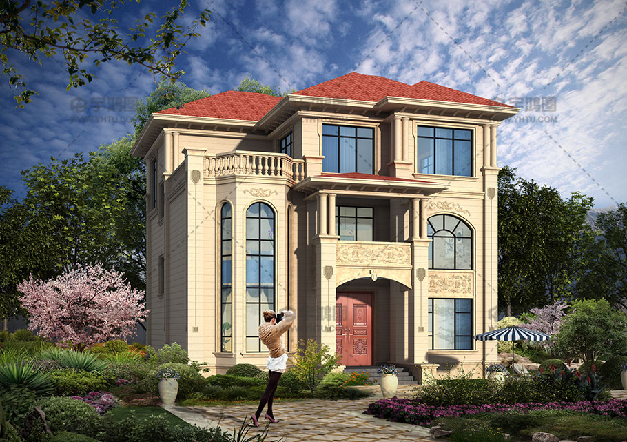 158平漂亮别墅款式三层小楼设计图