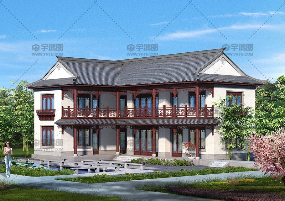 造价25万带堂屋古典优雅中式别墅设计图纸及效果图