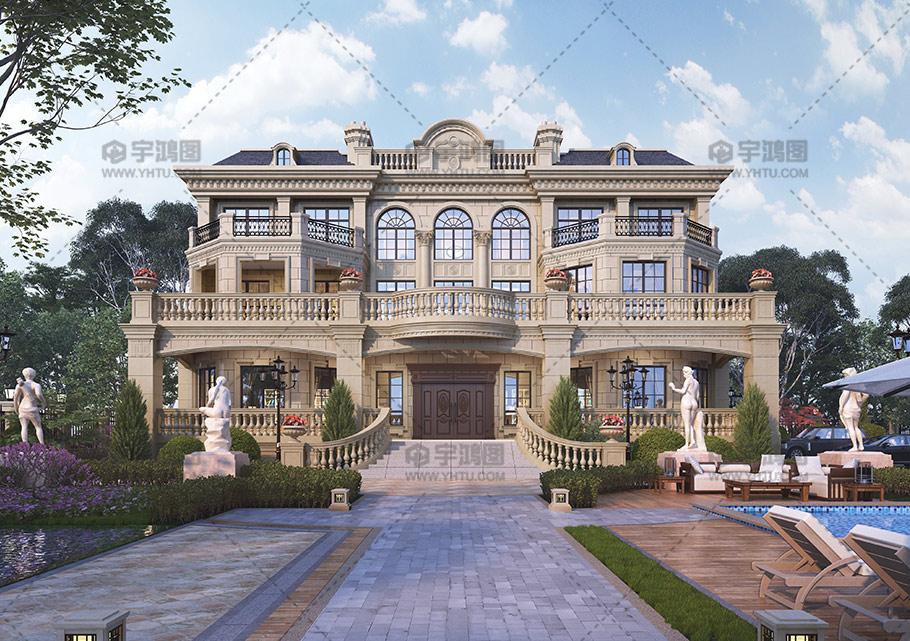 500平三层豪华欧式别墅图纸