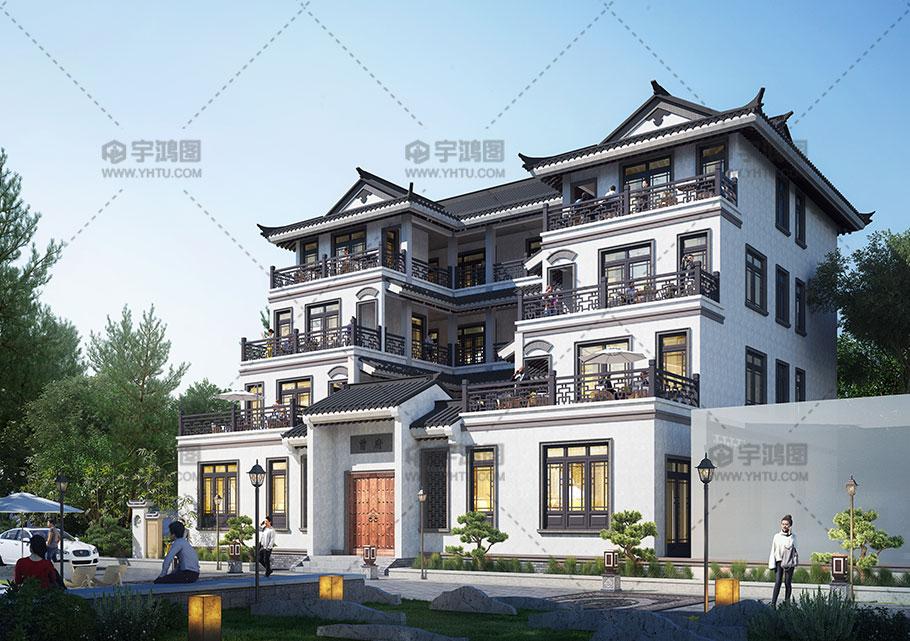 19x18米四层中式别墅全套图纸