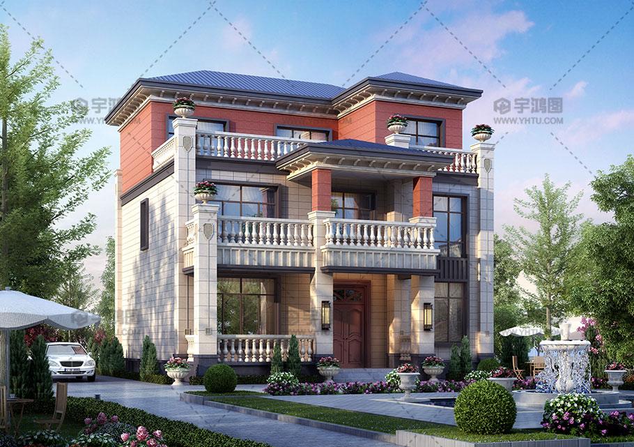 12x13m三层砖混别墅效果图