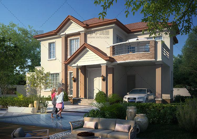 13x13米两层美式小别墅图纸