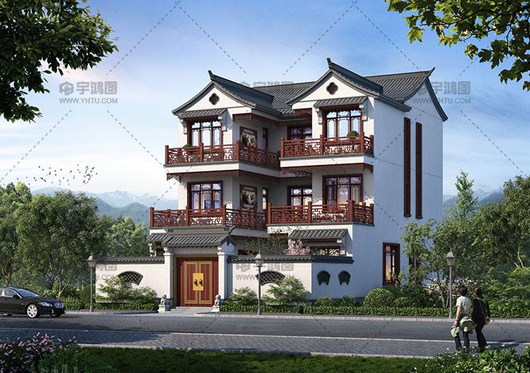 145平三层古典中式别墅设计图纸