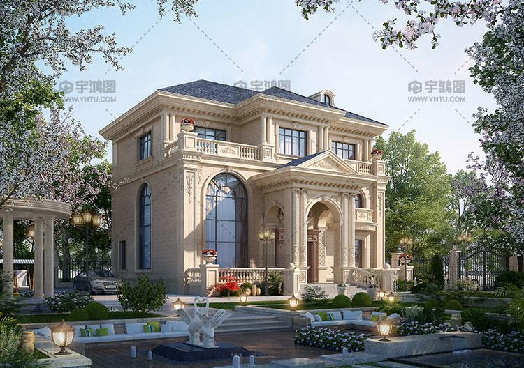 三层复式客厅古典欧式别墅设计图